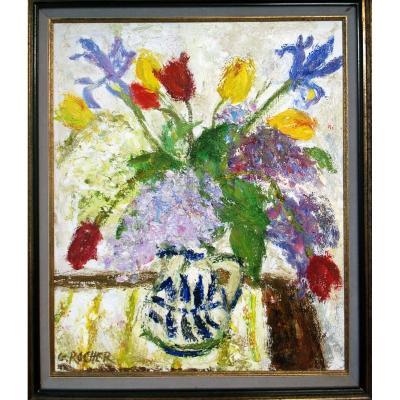 Georges Rocher 1927 1984 Bouquet Fleurs Cubiste Moderniste Vintage