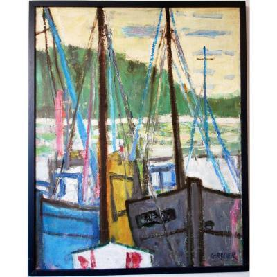 Georges Rocher 1927 1984 Marine Industrielle Bateau Port Moderniste