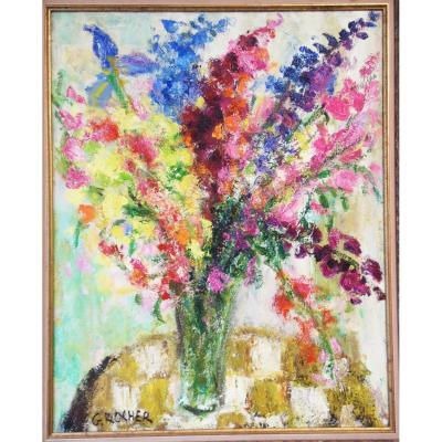 Georges Rocher 1927 1984 Grand Tableau Bouquet Iris Impressionniste