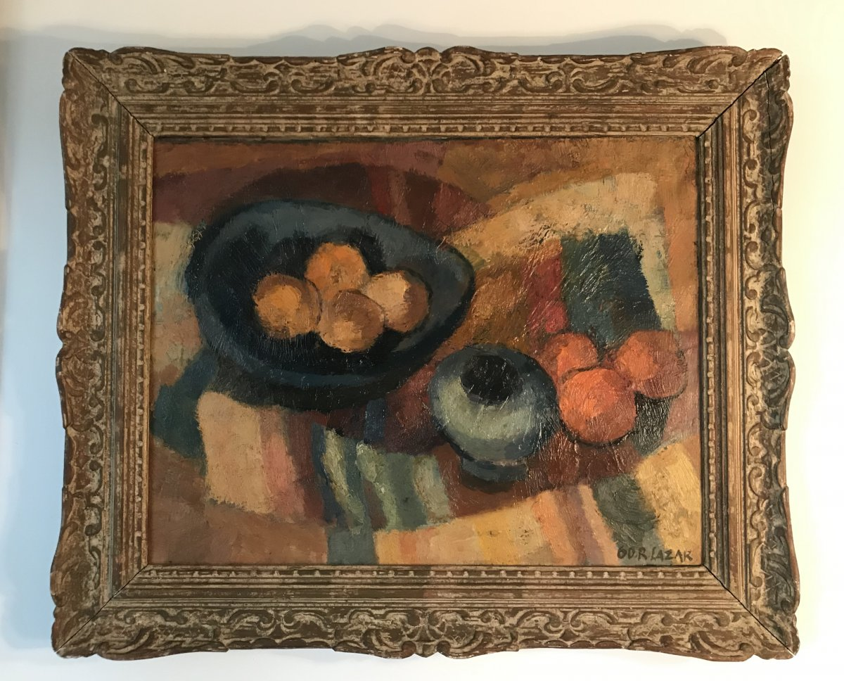 Still Life With Fruits, Cubist, By R.lazar 1960