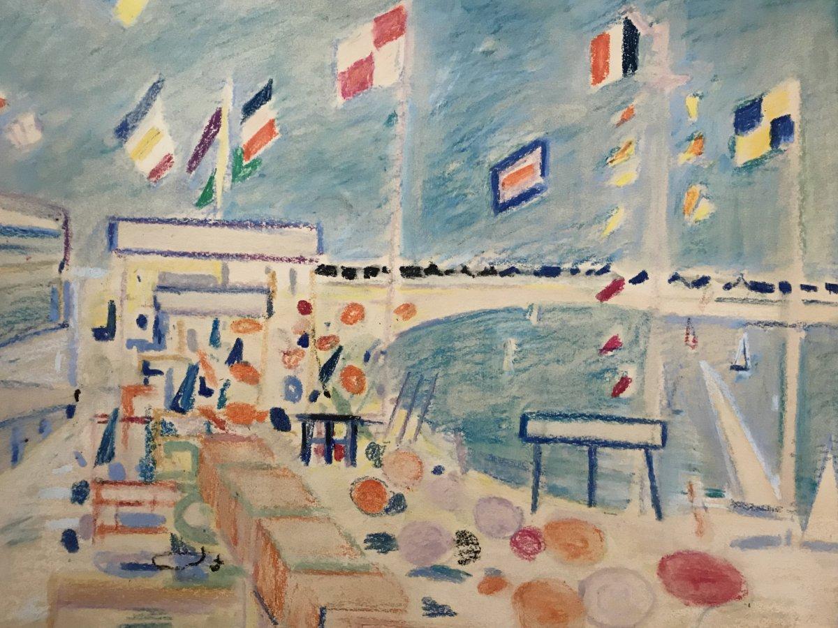 Robert SAVARY (1920-2000) La Croisette à Cannes, Pastel Sur Carton  Année 1950