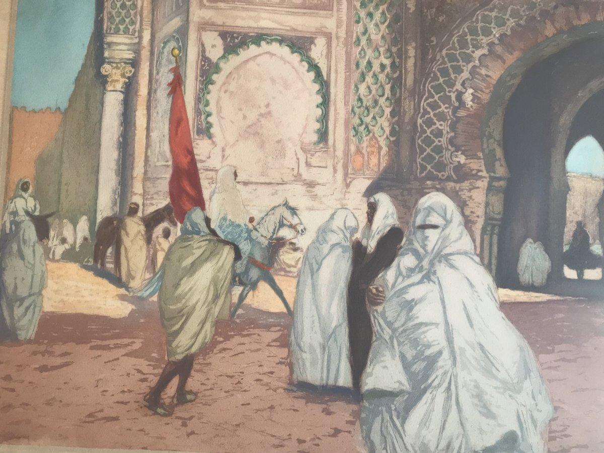 LOBEL-RICHE Almery (1880-1950) La Mosquée des Andalous à Fès Aquatinte