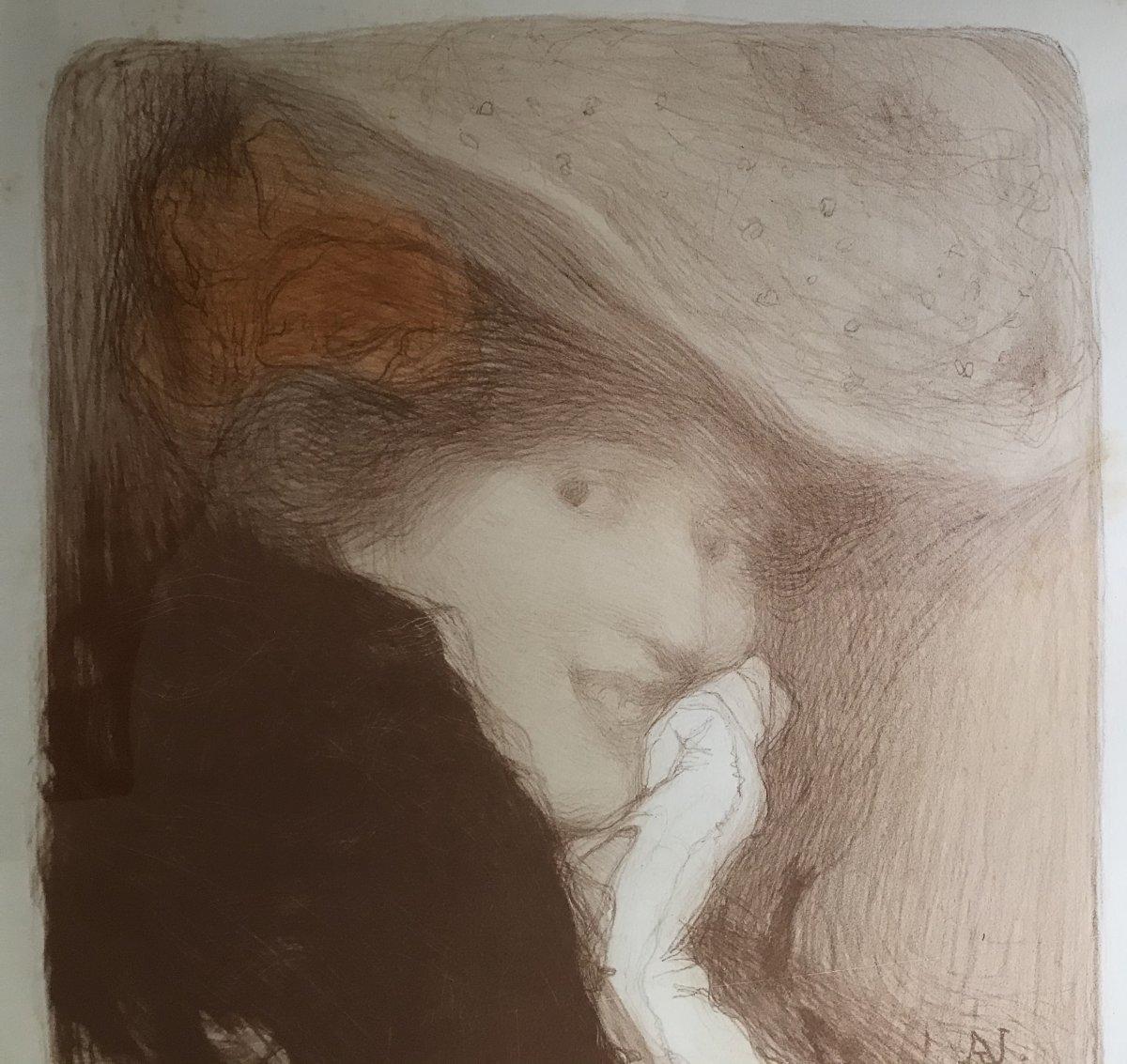Edmond AMAN-JEAN (1858-1936) Postimpressionniste, symboliste, Art Nouveau, estampe 1900
