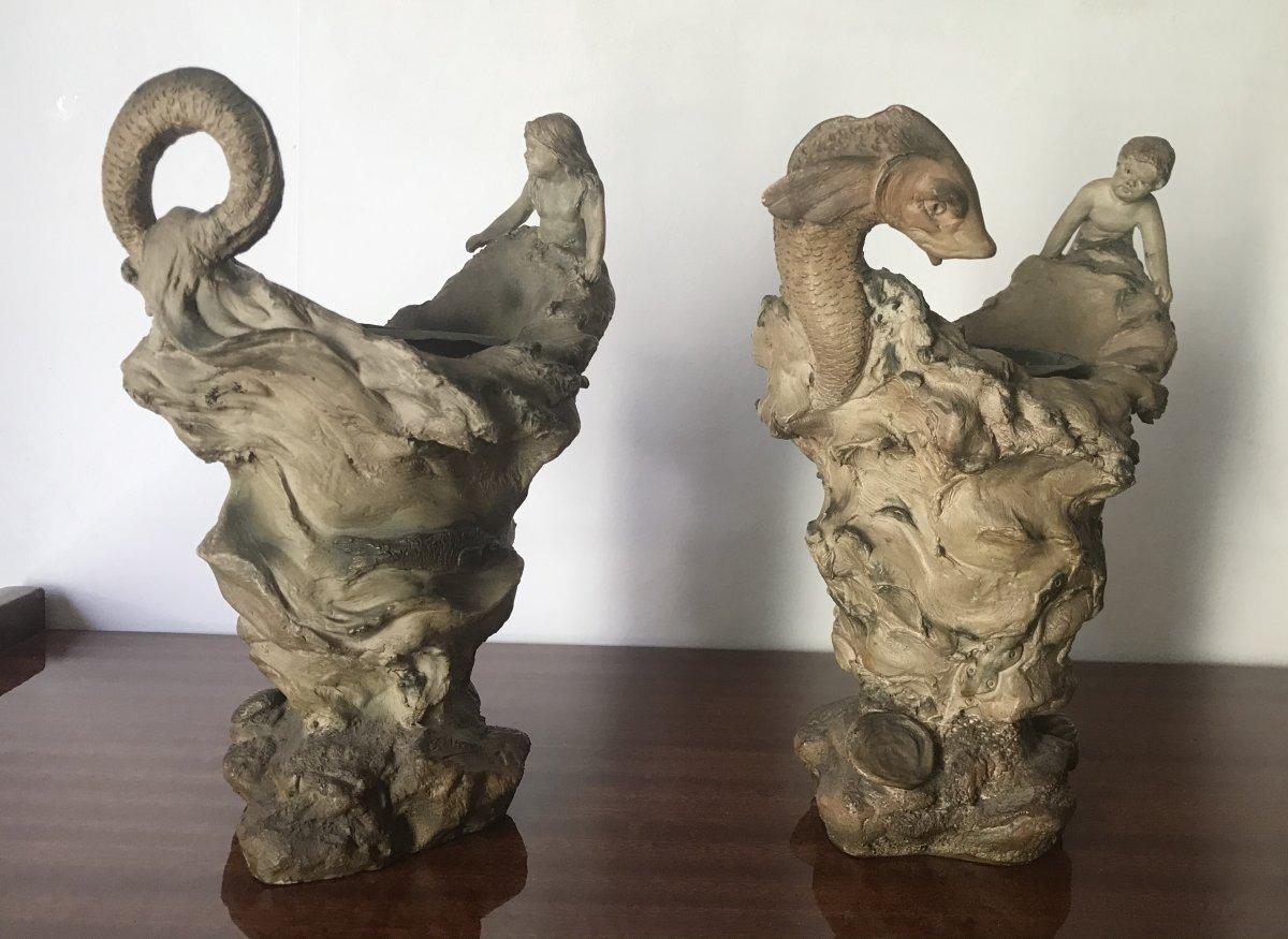 Alphonse Louis Hanne (1856-1908) 2 Sculptures In Terracotta, Theme Of The Sea XIX Century
