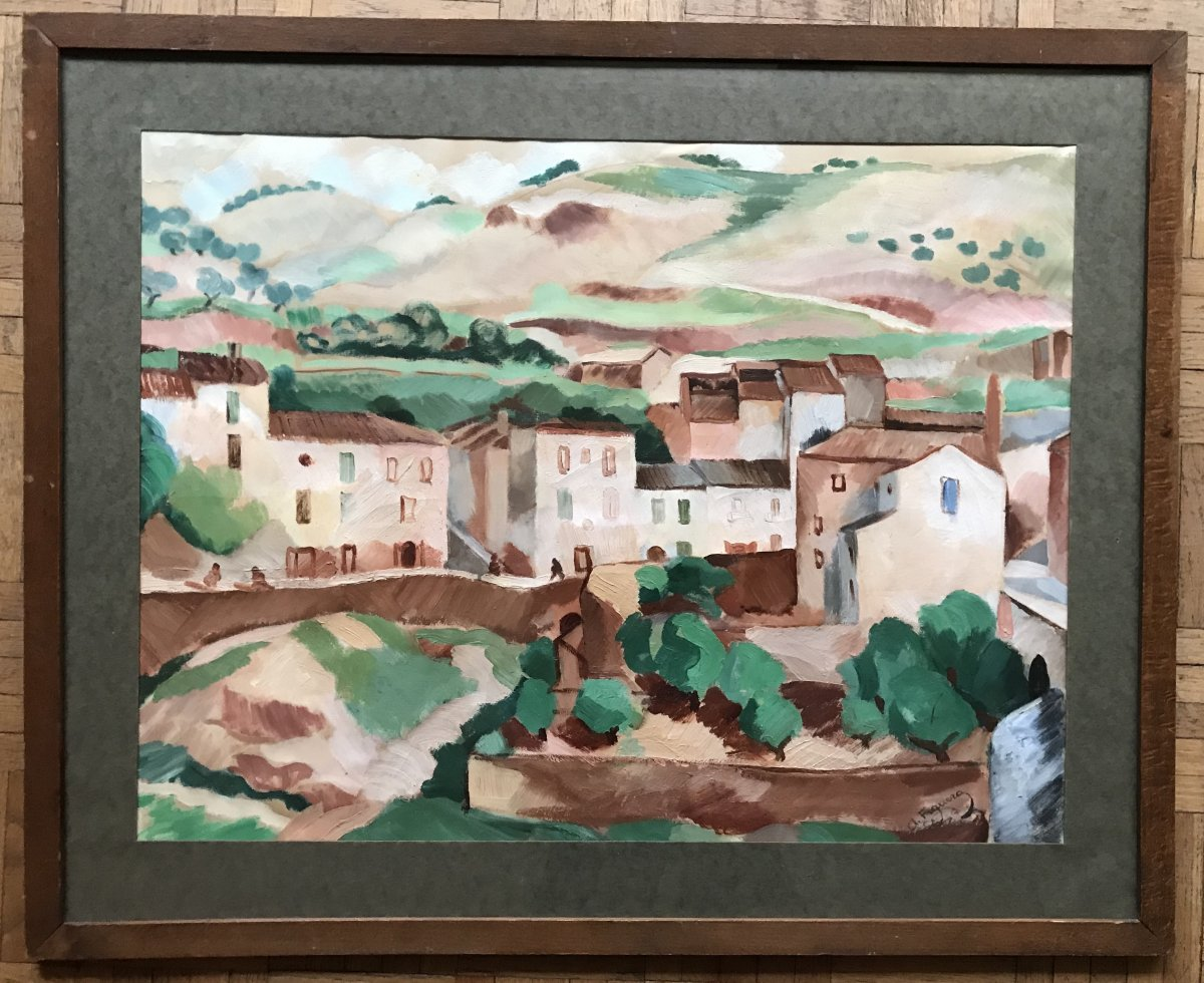 Alfred Figueras (1900-1980) Cubist Landscape 1919, Algiers ?, Friend Of Picasso