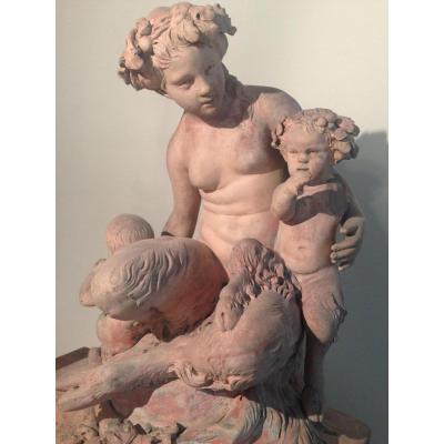 Terre Cuite (d'Après Clodion), Femme faune avec amours