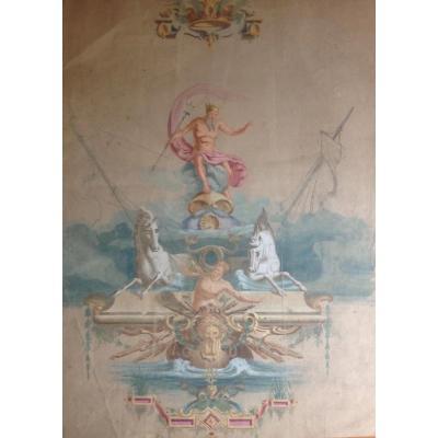 Scène Mythologique, Gouache Sur Papier XIX Siècle