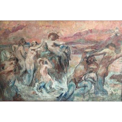 Scène Mythologique, Combat De Neptune/poséidon Avec Groupe De Muses, XIX Siècle