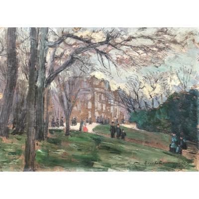 Maurice Trochain-Ménard (XIX-XX Siècles) Jardin Animé 1914
