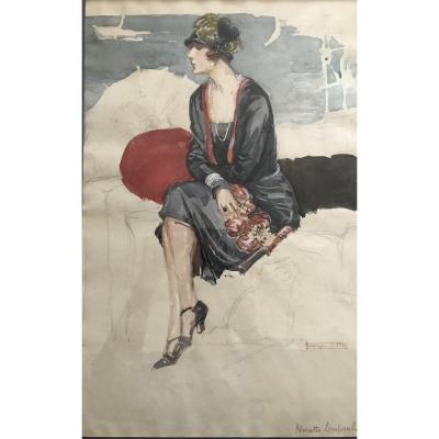 Goerges Villa (1883-1965) Elégante Au Bord De La Mer, Art Nouveau, Art Déco