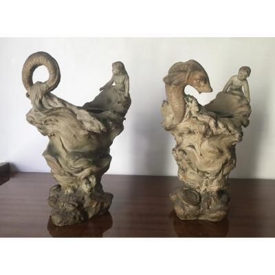 Alphonse Louis Hanne (1856-1908) 2 sculptures En Terre Cuite, Thème De La Mer XIX Siècle