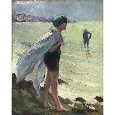 Henry Jean PONTOY (1888-1968) Fille sur la plage 1927  (Fille de Louis Mabille de Poncheville)