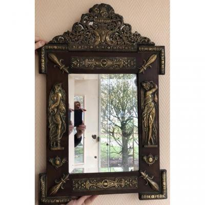Art Nouveau Mirror In Embossed Copper And Wood 1900