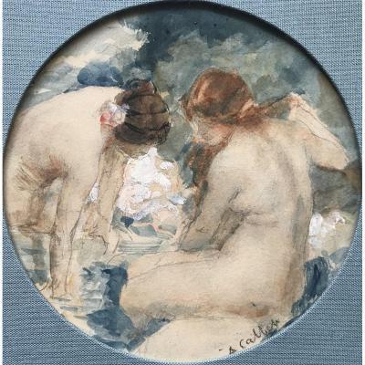 Antoine Calbet (1860-1944) Bathers, Art Nouveau, Watercolor Early XX