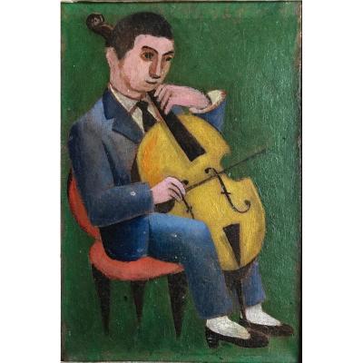 Musician, Oil On Canvas XX Century Montparnasse Frame