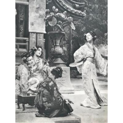 Alois Hans SCHRAM(1864-1919) peintre autrichien, Scène Japonaise  Art Nouveau