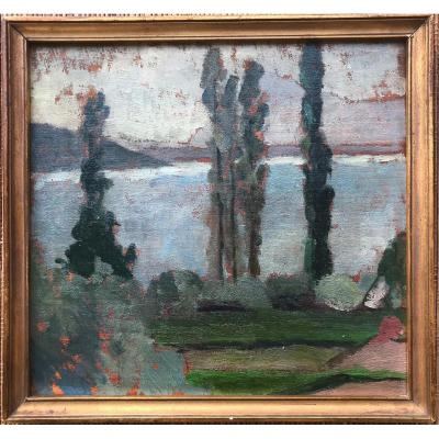 Lake Annecy May 1920 Oil On Panel Art Déco