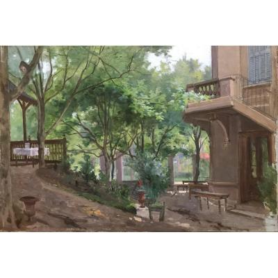 Country Garden, Oil On Wood End XIX Century Painter To Find