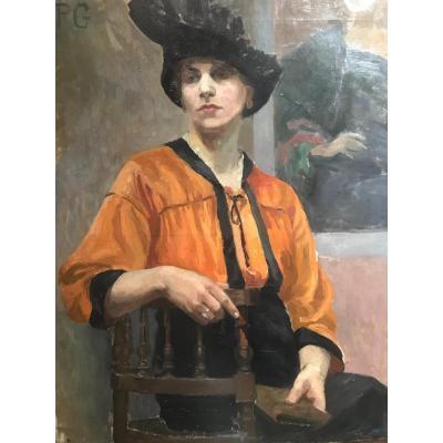 Elegant Woman In Hat End XIX Or Beginning XX Century Monogram Pg