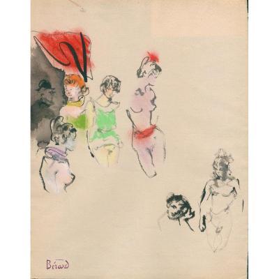 Christian Bérard dessin, Les Maisons - Ces Dames
