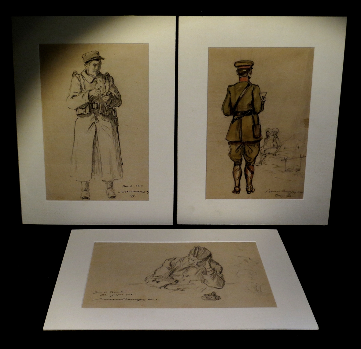 [war Hairy Slices] Louveau Rouveyre - Suite 6 Original Drawings, Signed.