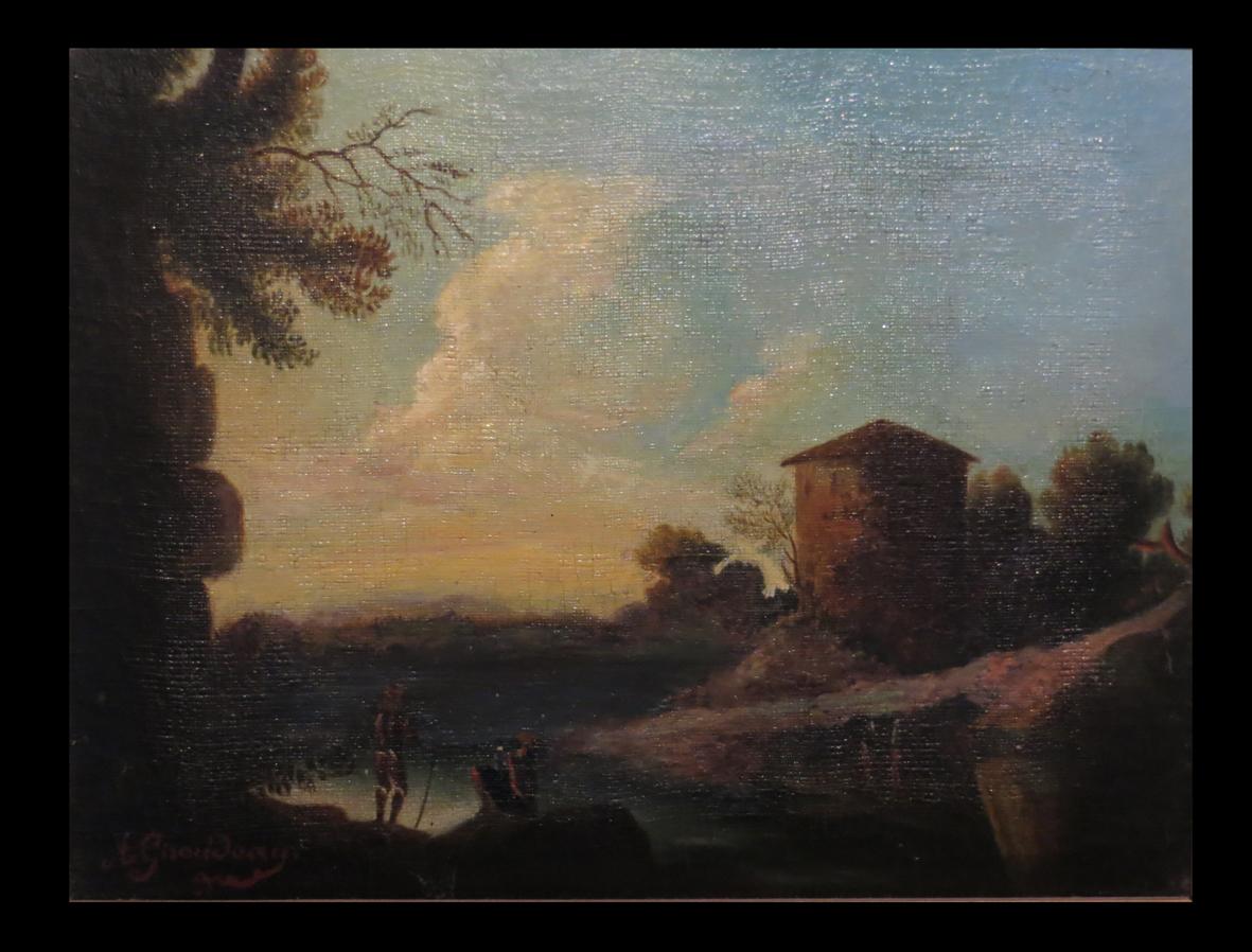 [italia ?] [huile Sur Toile Signée A. Giraudeau :] Paysage Lacustre. C. 1830.