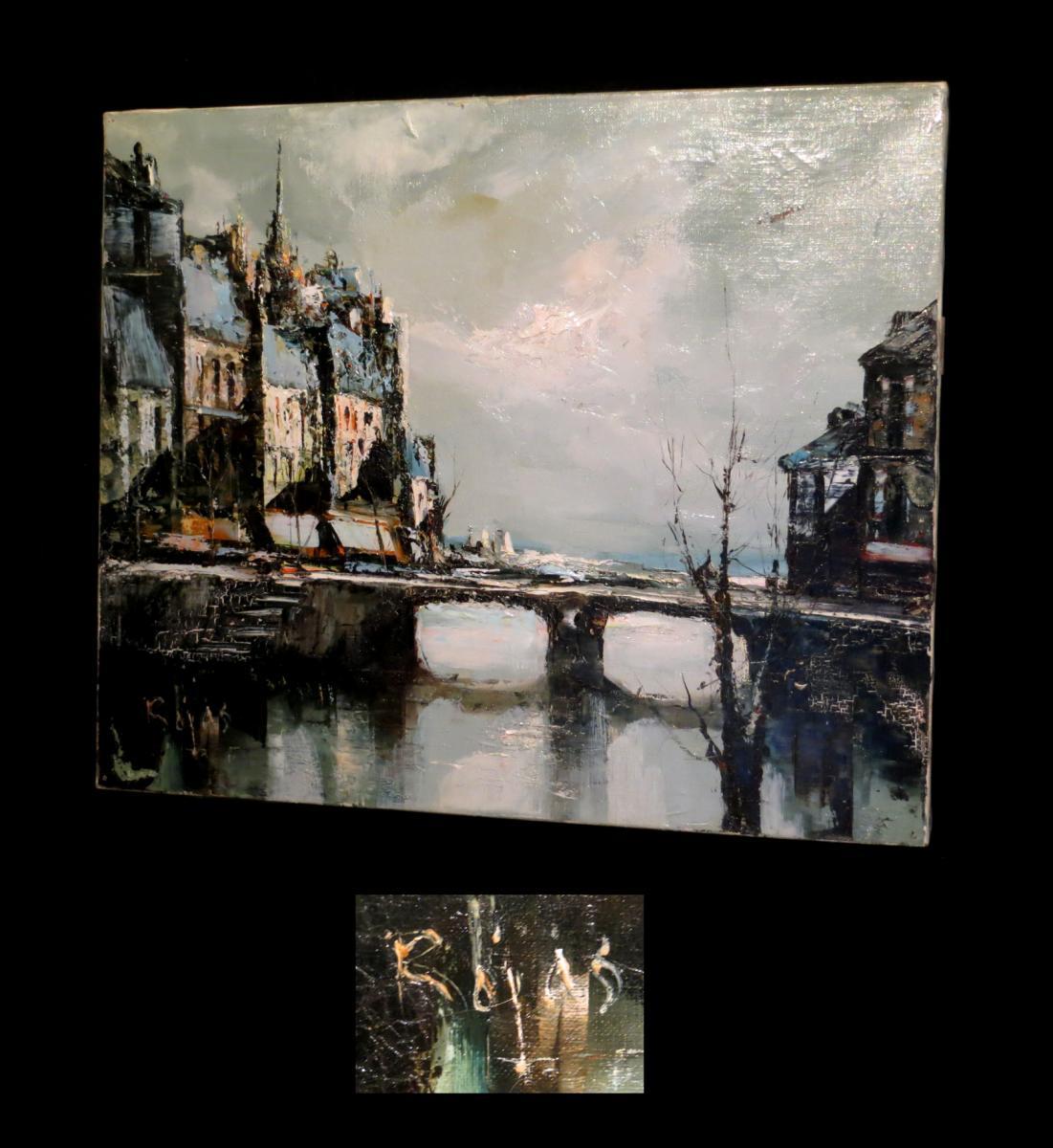 Oil On Canvas Signed Rojas - [paris - Quays Of Seine].