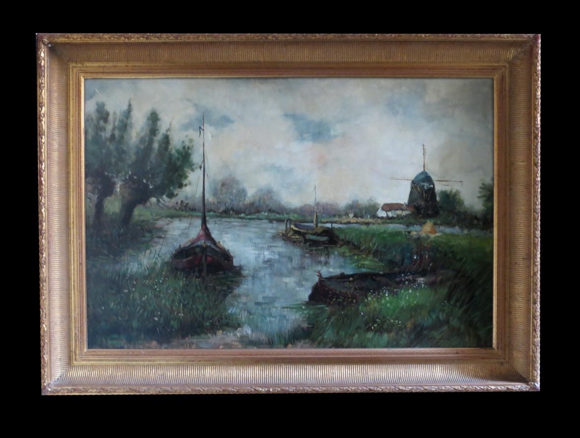 [pays-bas Riviere Moulin Hst] B. H. SLOTMAN - Huile 88x53cm