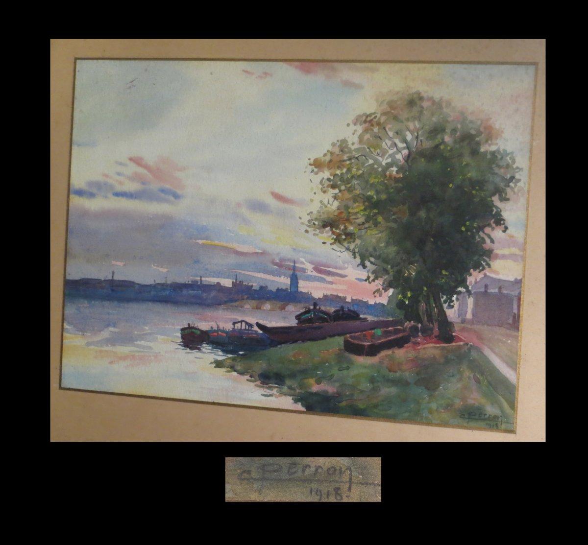 Perron (charles Clément) - Aquarelle Signée : Quais De Seine Ou De Loire. 1918.