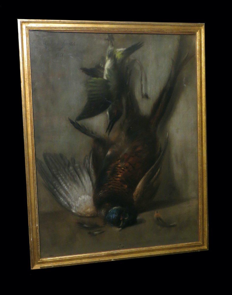 Cynegetique Chasse] Huas (adolphe) - Grand Pastel Signé : Nature Morte Au Faisan