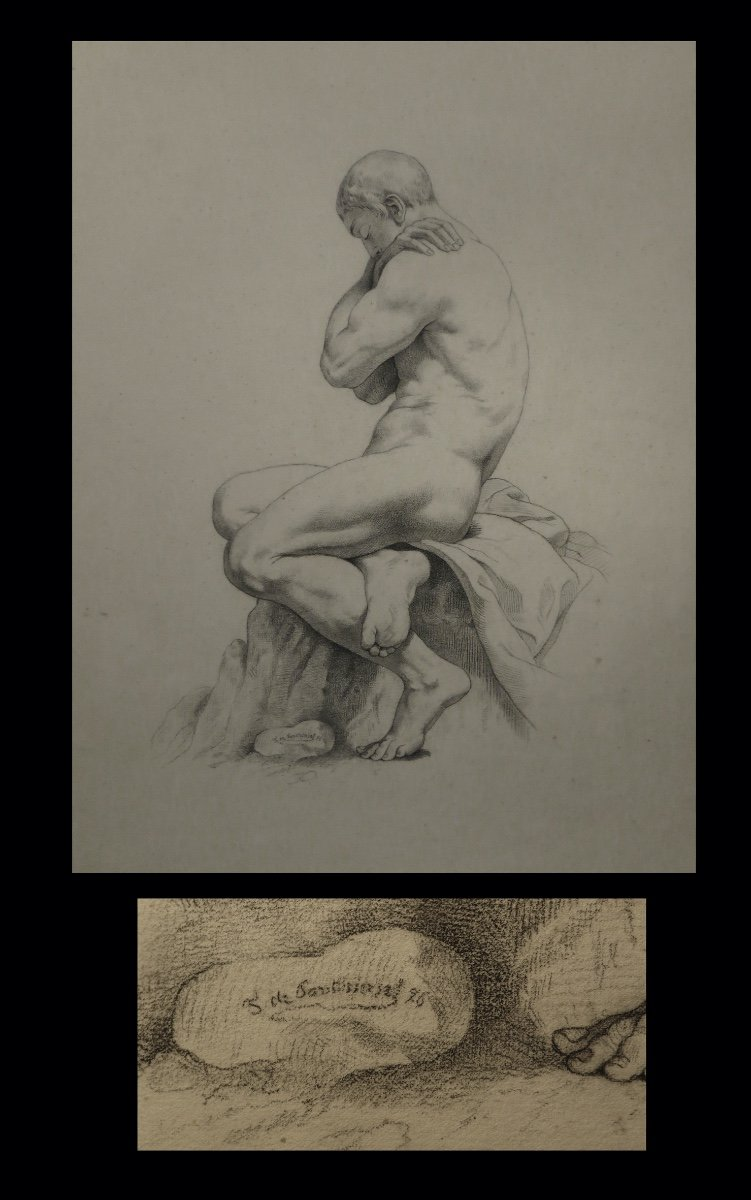 [anatomy Academy] Pontbriant - Signed Drawing: Male Nude.-photo-2