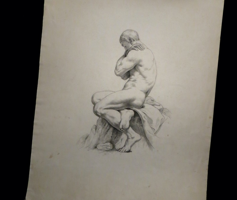 [anatomy Academy] Pontbriant - Signed Drawing: Male Nude.