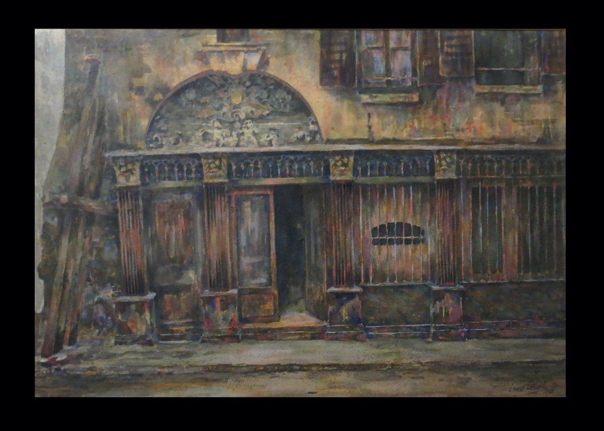 [paris Rouen? Architecture] Laborde (ernest) - Large Watercolor Signed Dated.-photo-2