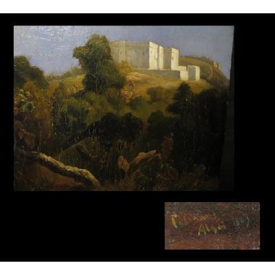[orientalisme Algerie Alger] Huile Sur Panneau d'Acajou Signée. 1843.