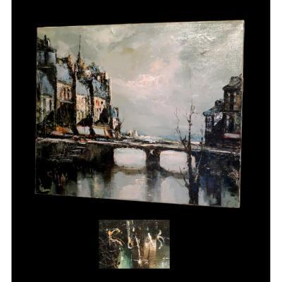 Huile Sur Toile, Signée Rojas - [paris - Quais De Seine].