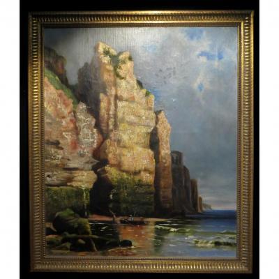 Henri (yves) - [huile Sur Toile] : Pêcheurs Près d'Une Grotte.