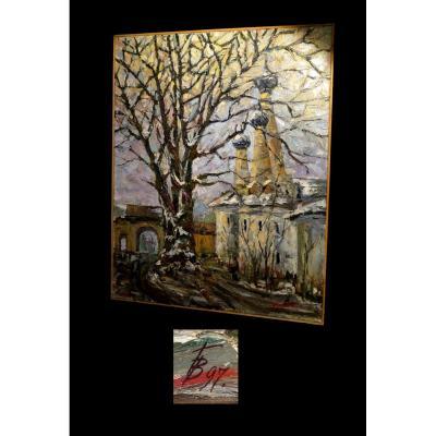 [RUSSIA RUSSIE] POPOV - [Huile sur toile signée]. 80x68cm