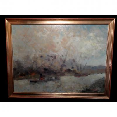 [normandy Seine-maritime Rouen Impressionism] Pinier (michel) - Oil Signed.