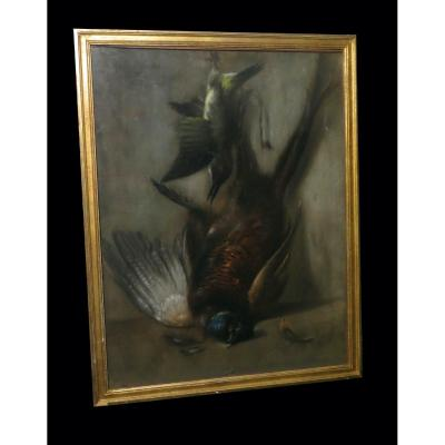 Cynegetique Chasse] Huas (adolphe) - Large Signed Pastel: Still Life With Pheasant