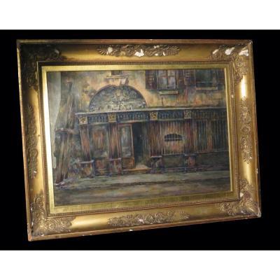 [paris Rouen? Architecture] Laborde (ernest) - Large Watercolor Signed Dated.