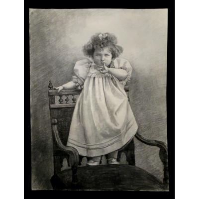 [child] Large Drawing Containing A Girl Perched On An Armchair.