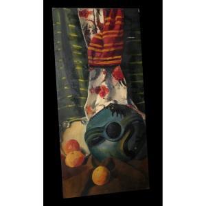 [expressionnisme Hsp Signée] Chape (jean) - Nature Morte Au Tambourin & à La Céramique 97 x 47