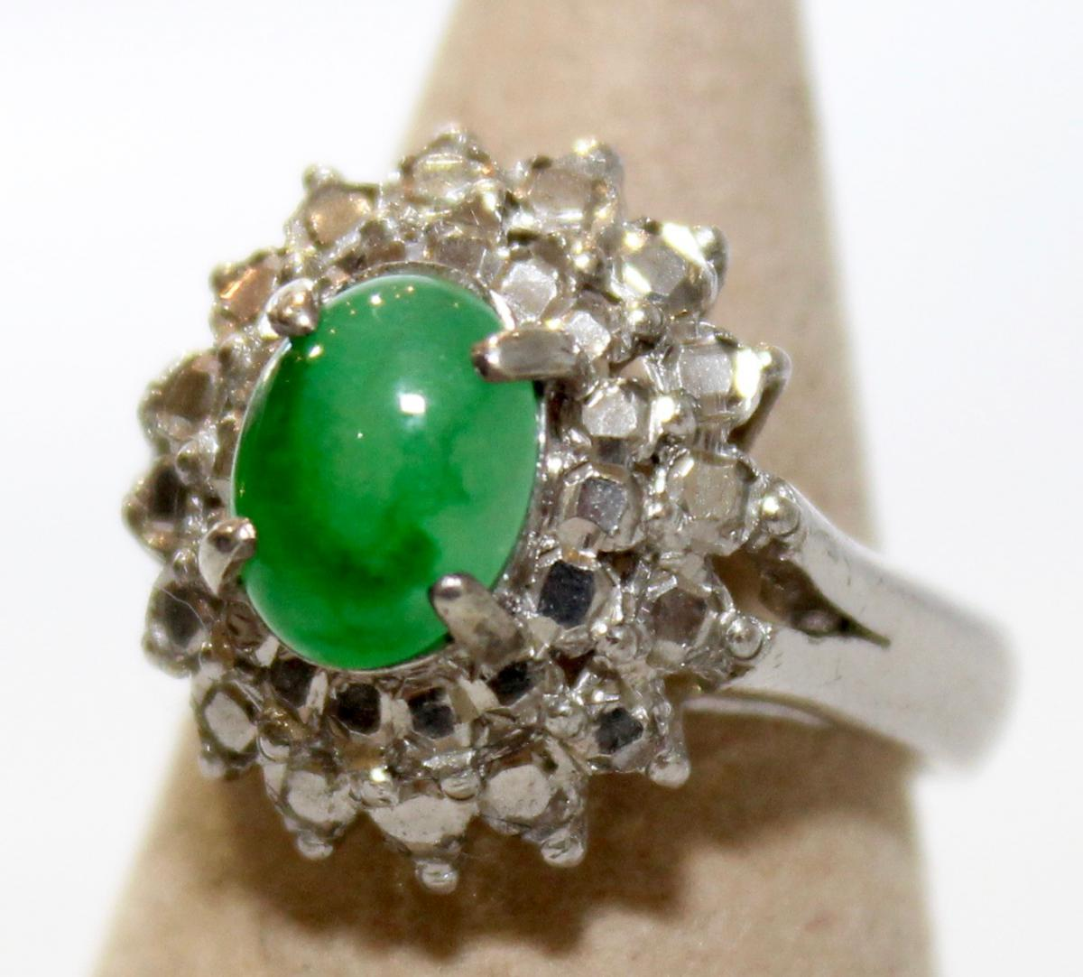 An Antique Ring In White Gold And Strass With Apple Green Jadeite Cabochon