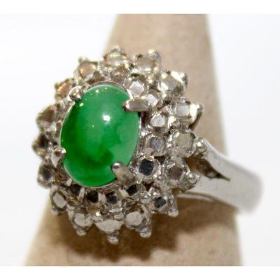 Bague En Jade Vert Naturel, Monture Or Blanc Et Strass