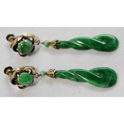 Paire De Boucles d'Oreille En Jade Vert Pomme Monture Or Jaune