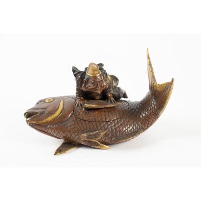 A Rare Lacquered Bronze Box Representing Ebisu On A Carp, Japan, 19th Century
