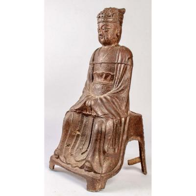 A Large Jade Emperor Statue In Cast Iron, Kangxi Period (1662-1722)