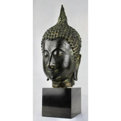 Tête De Bouddha En Bronze, 19ème Siècle