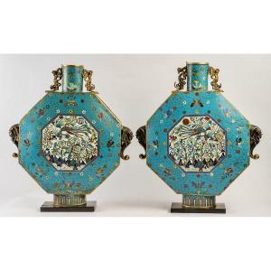 Paire De Grandes Gourdes Lunaires Bianhu Cloisonnés, Période Jiaqing