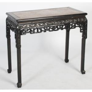 Chinese Table In Blackened Wood With Red Marble Insert